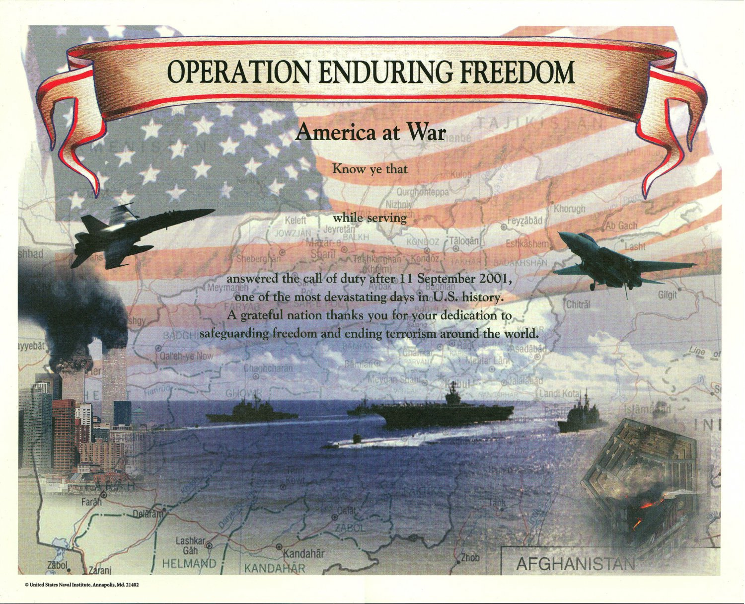 operation enduring freedom  afghanistan war  certificate