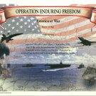 Operation Enduring Freedom (Afghanistan War) Certificate unused mint, from the US Naval Institute