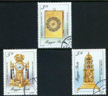Clocks short set of 3 stamps CTO Hungary 1990