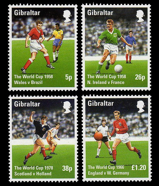 Tribute to the World Cup 1998 Set of 4 mnh stamps Gibraltar Soccer Football