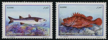 Fish set of 2 mnh stamps 2016 Algeria Red Scorpionfish Flathead Gray Mullet