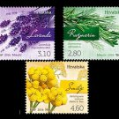 Flowers set of 3 mnh stamps 2016 Croatia Lavender Rosemary Curry plant