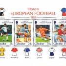 Tribute to European Football (Soccer) 1996 Souvenir Sheet Gibraltar Soccer Football