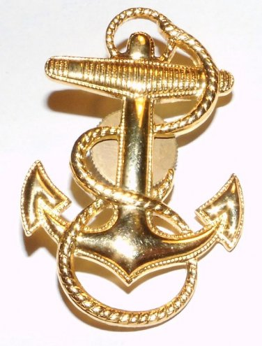 Insignia Service Cap Midshipmen, Naval Cadet, NROTC, gold-plated, mint condition