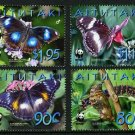 Blue Moon Butterfly, Aitutaki WWF set of 4 stamps, mnh #539-42