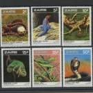 Snakes Lizards set of 6 mnh stamps 1987 Zaire #1231-6