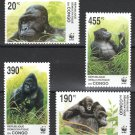 Gorillas mnh set of 4 stamps 2002 Zaire #1638-41