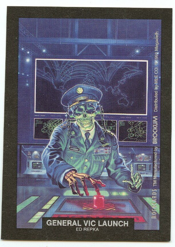 General Vic Launch Ed Repka sticker insert Brockum RockCards 1991