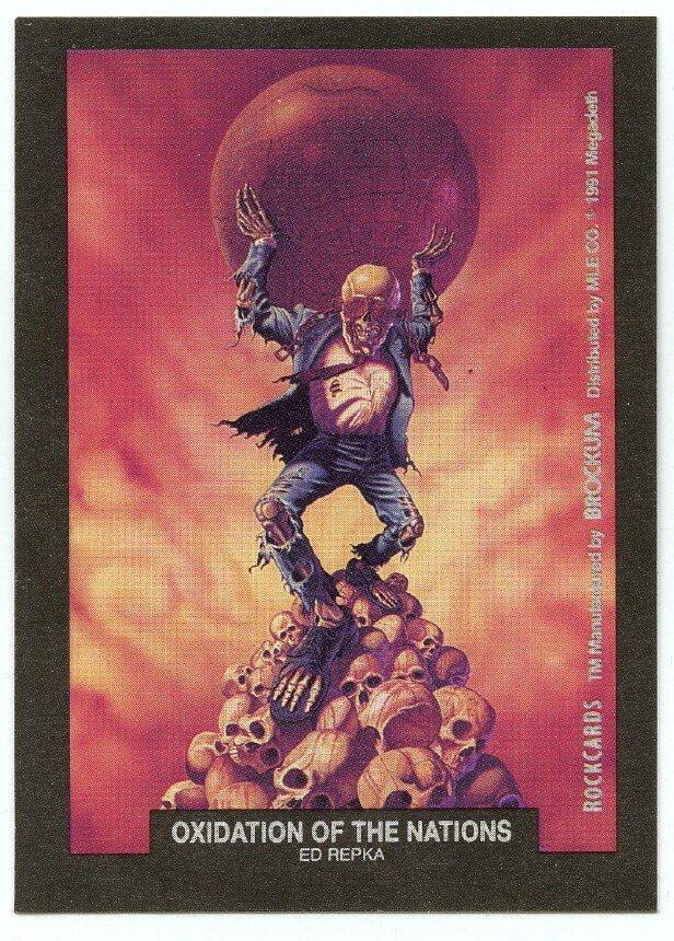 Oxidation of the Nations Ed Repka sticker insert Brockum RockCards 1991