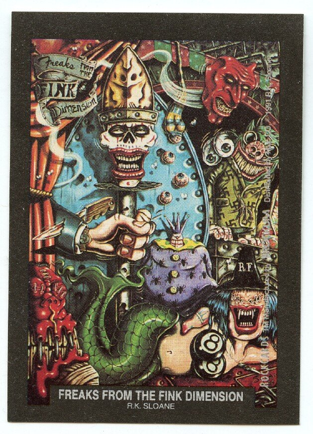 Freaks from the Fink Dimension R.K. Sloane sticker insert Brockum RockCards 1991