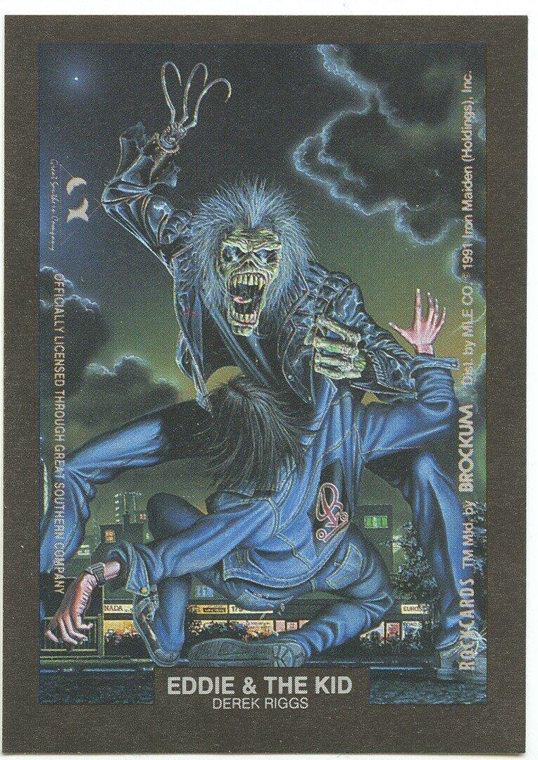 Eddie & the Kid Derek Riggs sticker insert Brockum RockCards 1991