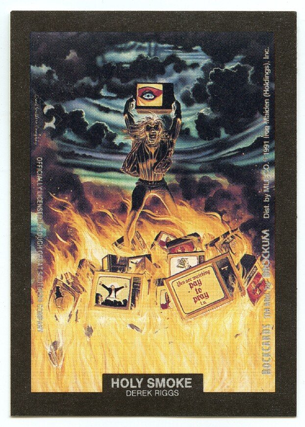 Holy Smoke Derek Riggs sticker insert Brockum RockCards 1991