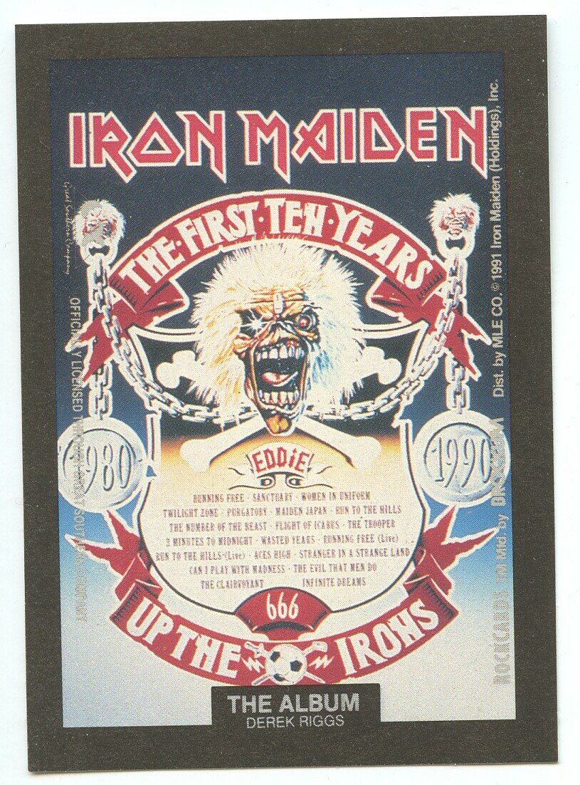 Iron Maiden Derek Riggs sticker insert Brockum RockCards 1991
