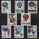 Hot Air Balloons mnh set of 8 stamps 1984 Rwanda #1183-90