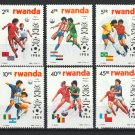 World Cup Soccer Mexico 1986 mnh set of 6 stamps Rwanda #1256-61