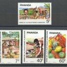 Year of Food Production mnh set of 4 stamps 1987 Rwanda #11278-81
