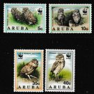 WWF  Burrowing Owls set of 4 mnh stamps 1994 Aruba #101-4 birds