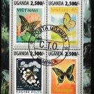 Butterflies souvenir sheet cto 2013 Uganda #2072 stamp-on-stamp