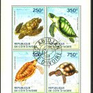 Turtles mini sheet of 4 stamps CTO 2014 Ivory Coast