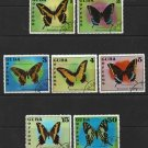 Butterflies set of 7 CTO stamps 1972 Cuba #1727-33