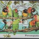 Parakeets souvenir sheet cto 1997 Laos #1318 birds