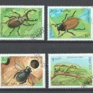 Insects set of 4 CTO stamps 1995 Laos #1243-6 katydid beetle