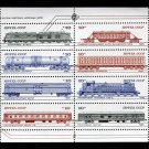 Russia Trains 1985 complete sheet of 8 diff., mnh