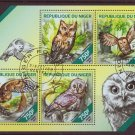 Owls mini sheet of4 cto stamps 2014 Niger