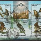 Owls mini sheet of 5 cto stamps 2013 Guinea-Bissau