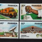 Transportation Communication mnh 4 stamps 1986 Rwanda Scott #1243-6