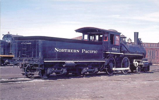 Northern Pacific Baldwin 4-4-0 Steam #684 postcard locomotive train railroad a52