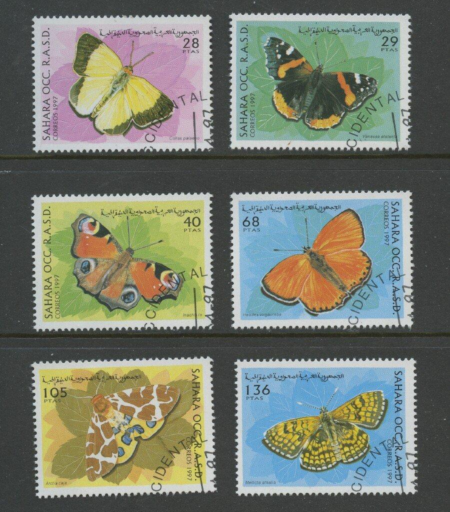 Butterflies set of 6 cto stamps 1997 Western Sahara