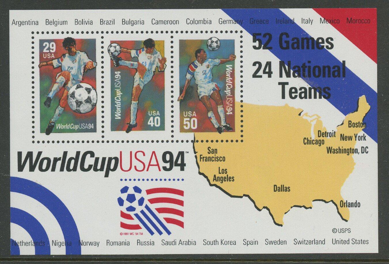 World Cup 1994 mnh souvenir sheet USA #2837  Soccer Football