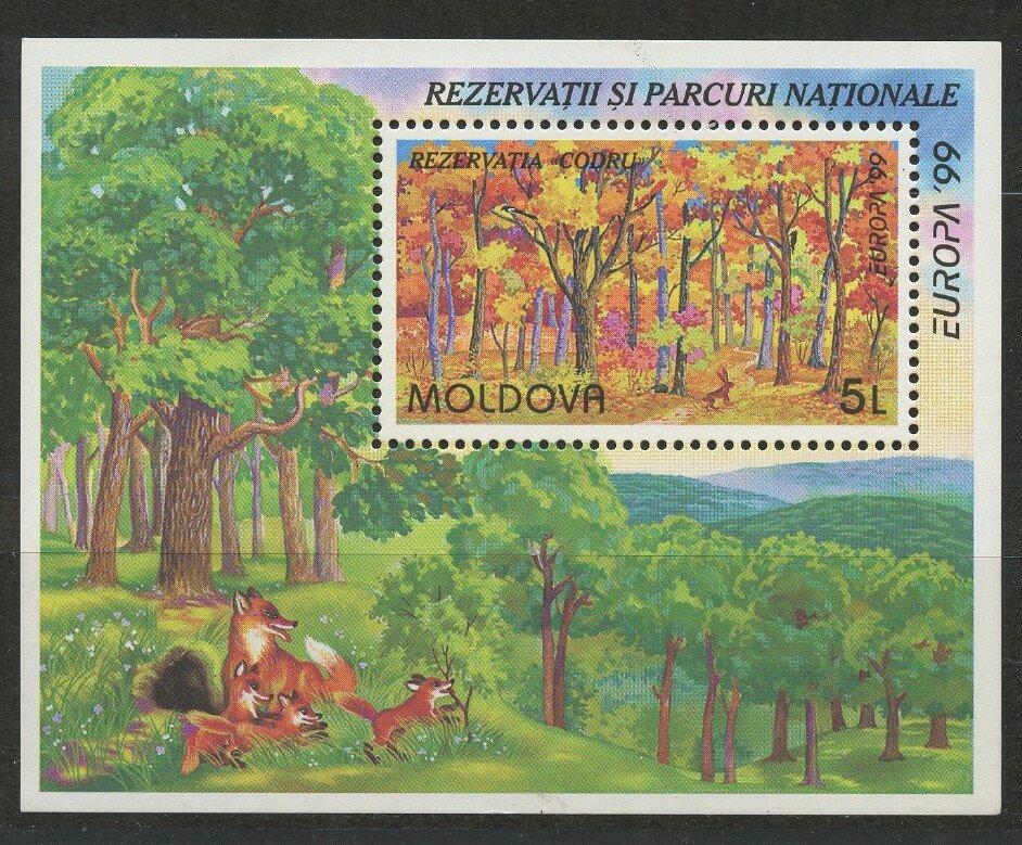 Fox Rabbit National Park Codru Nature Reserve mnh Souv. Sheet 1999 Moldova #303