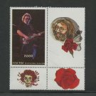 Jerry Garcia Grateful Dead mnh block of stamp + 3 labels Abkhazia