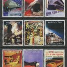 Railroad Posters Trains Steam Diesel MNH set of 9 Stamps 1999 Kyrgyzstan