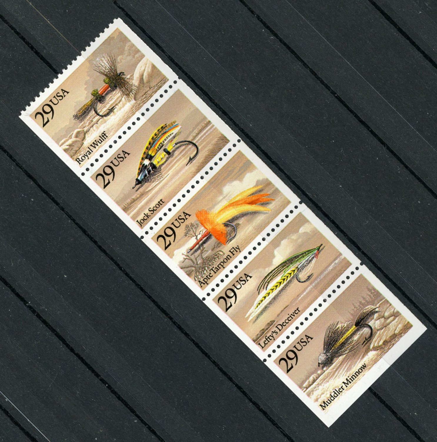 Fishing Flies MNH Strip of 5 Stamps Ex-Booklet 1991 USA #2549a