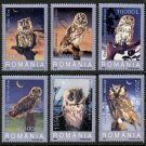 Owls Birds mnh set of 6 stamps 2003 Romania #4579-84