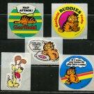 5 Garfield 1978 Vintage Stickers Odie Pooky