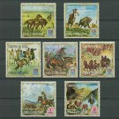 Wild West Horses MNH Set of 7 Stamps Equatorial Guinea Buffalo Stage Coach