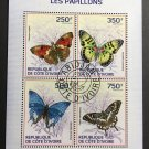 Butterflies mini sheet of 4 stamps CTO 2014 Ivory Coast