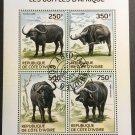 Buffalo mini sheet of 4 stamps CTO 2014 Ivory Coast