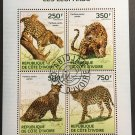 Leopards mini sheet of 4 stamps CTO 2014 Ivory Coast