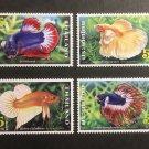 Fighting Fish MNH Set of 4 Stamps 2021 Thailand Betta Splendens