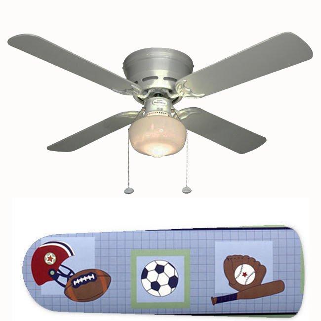 Little Boy's Sports Baseball Football Ceiling Fan w/Light Kit or Blades Only