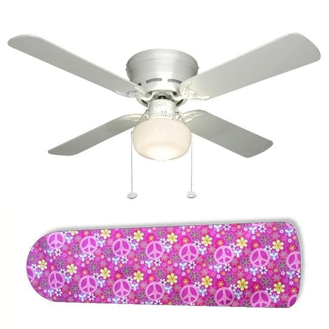 Pink Peace Signs Ceiling Fan w/Light Kit or Blades Only or Ceiling Lamp