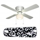 Black and White Damask Ceiling Fan w/light or blades only or ceiling lamp