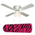 Zebra Pink and Black Ceiling Fan w/light kit or blades only or ceiling lamp
