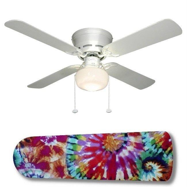 Groovy Hippie Tie Dye Ceiling Fan w/Light Kit or Blades Only or Ceiling Lamp
