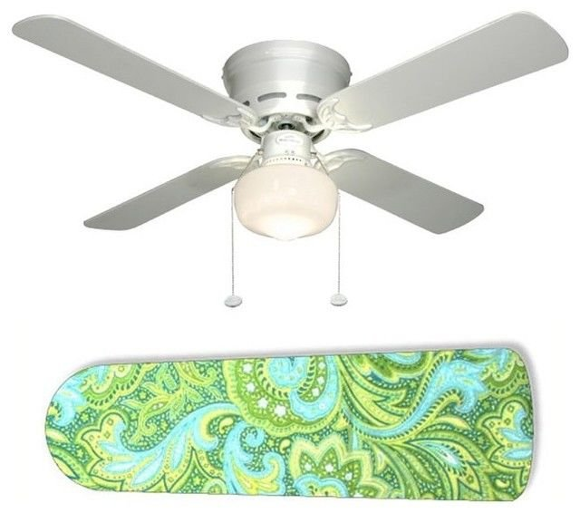Seaside Paisley Blue/Green Ceiling Fan w/light or blades only or ceiling lamp